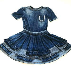Diesel Darkwash Denim Shortsleeve Ruffled Dress